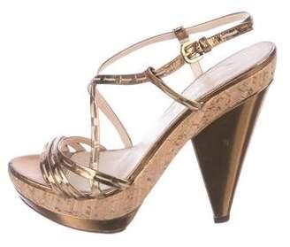 Prada Metallic Crossover Sandals