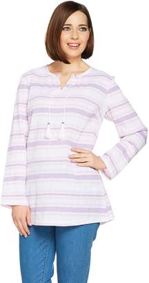 Denim & Co. Beach Long Sleeve Gauze Tunic