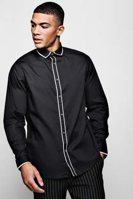 boohoo Slim Fit Smart Long Sleeve With Placket Piping