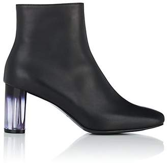 Helena & Kristie Women's Acrylic-Glass-Heel Leather Ankle Boots
