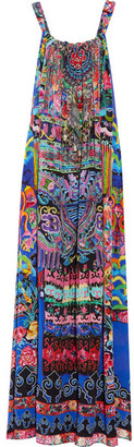 Camilla - Chinese Whispers Embellished Printed Silk-georgette Maxi Dress - Bright blue $600 thestylecure.com