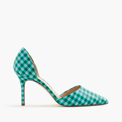J.Crew Elsie gingham d'Orsay leather pumps