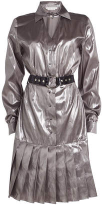 ALYX STUDIO Metallic Silk Dress with Leather Belt