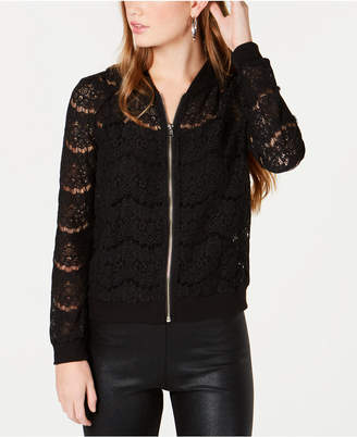 Material Girl Juniors' Lace Bomber Jacket