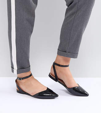 Lost Ink Wide Fit Black Ankle Strap Flat Shoes