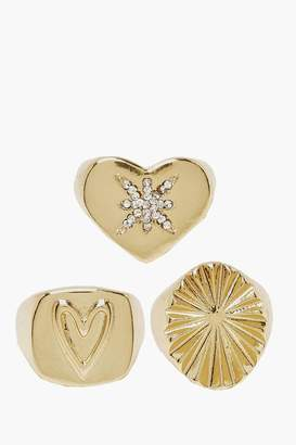 boohoo Heart & Star Signet Ring Pack