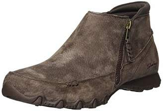 Skechers Women's Bikers-ZIPPIEST-Moc-Toe Outside Zip Bootie Ankle Boot