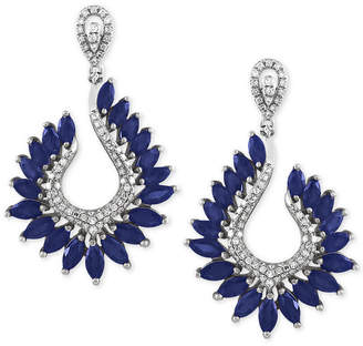 Effy Royale Bleu by Sapphire (6-3/8 ct. t.w.) and Diamond (1/2 ct. t.w.) Drop Earrings in 14k White Gold