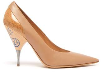 Maison Margiela (メゾン マルジェラ) - Maison Margiela - Logo Print Cork And Wooden Heel Leather Pumps - Womens - Nude