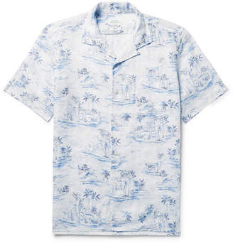 Hartford Slam Camp-Collar Printed Linen Shirt