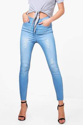 boohoo High Rise Distressed Thigh Skinny Jeans