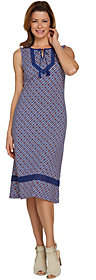 C. WonderC. Wonder Petite Printed Knit Midi Dress with Lace Trim