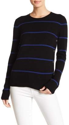 Equipment Jenny Button Detailed Striped Cashmere Sweater