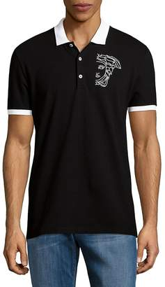 Versace Men's Logo Cuffed Polo Shirt - Black, Size xx-large