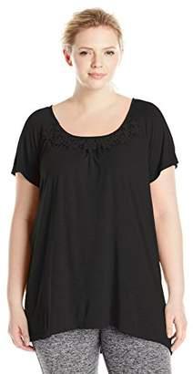 Just My Size Womens Short-Sleeve Slub-Jersey Tunic with Crochet Trim