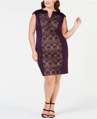 Connected Plus Size Split-Neck Lace-Panel Sheath Dress