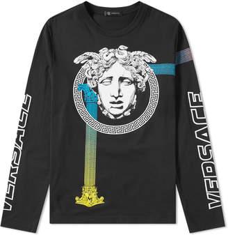 Versace Long Sleeve Medusa Column Print Tee