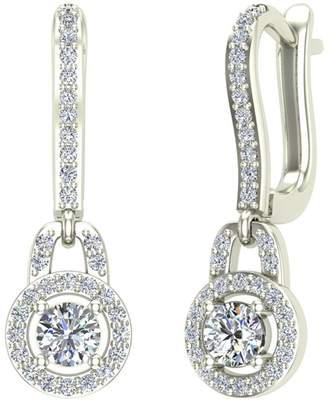 Glitz Design 0.81 ct tw G VS Dangle Drop Shape Halo Diamond Earrings 18K White Gold