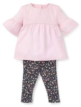 Ralph Lauren Childrenswear Baby Girl's Two-Piece Cotton Shirred Top Floral Leggings Set