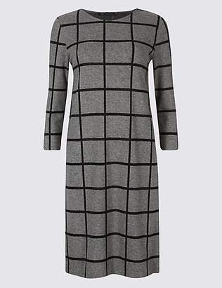 M&S Collection Checked 3/4 Sleeve Shift Dress