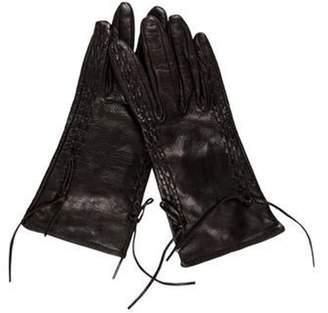 Miu Miu Lambskin Leather Gloves Brown Lambskin Leather Gloves