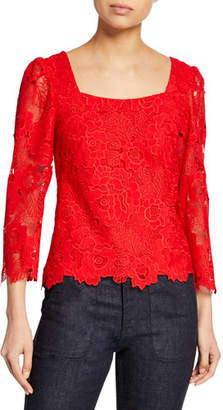 Nanette Lepore Sweetheart Square-Neck 3/4-Sleeve Floral Lace Top