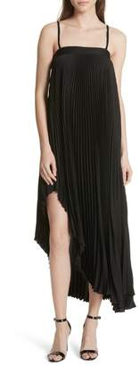 Milly Irene Asymmetrical Pleated Silk Maxi Dress