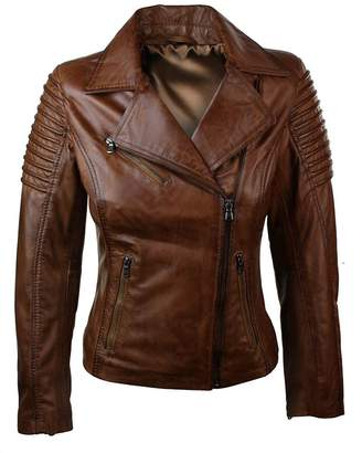 Aviatrix Ladies Women Genuine Real Leather Slim Fit Biker Jacket