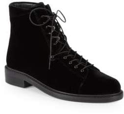 Stuart Weitzman Trekker Velvet Lace-Up Boots