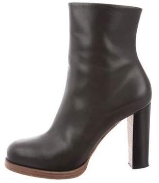 Celine Leather Platform Ankle Boots