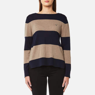 Gant Women's Block Stripe Merino Wool Crew Neck Jumper