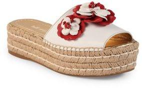 Prada Floral-Embroidered Leather Espadrille Slides