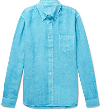 120% Button-Down Collar Slub Linen Shirt