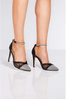 Quiz Black Satin Ankle Strap Heeled Shoes