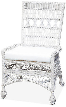One Kings Lane Bar Harbor Wicker Side Chair - White