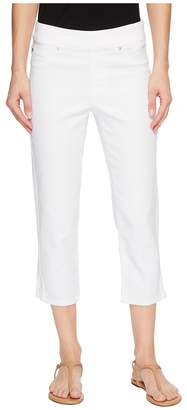 Tribal 22 Knit Denim Pull-On Capris with Side Leg Detail in White Women's Capri