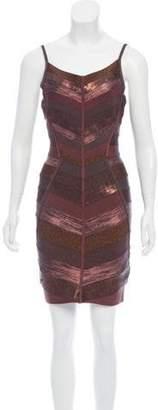 Herve Leger Embellished Bandage Dress Copper Embellished Bandage Dress