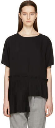 Maison Margiela Black Crepe Pleat Panel Blouse