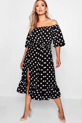 boohoo Plus Woven Off Shoulder Polka Dot Midi Dress