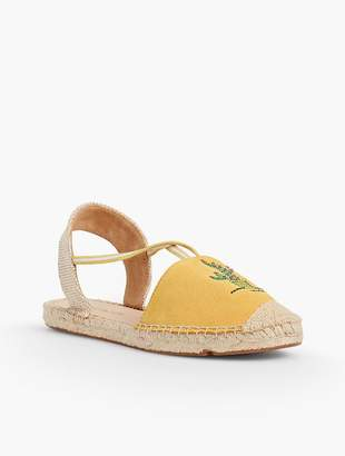 Talbots Ivy Cactus-Embroidered Silk Suede Espadrilles