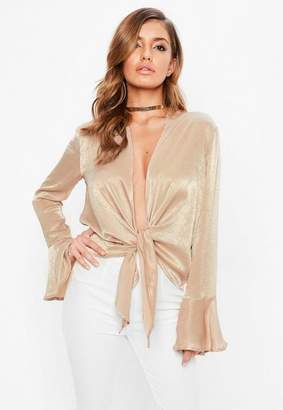 Missguided Tan Hammered Satin Flute Sleeve Blouse
