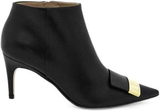 Sergio Rossi Pointed Black Nappa Ankle Boot.