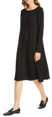 Eileen Fisher Bateau Neck Long Sleeve Tencel® Lyocell Dress