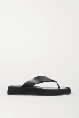 The Row Ginza Leather And Suede Platform Flip Flops - Black
