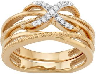 703ef122a Sterling Silver 1/10 Carat T.W. Diamond Infinity Ring Set
