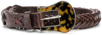 Golden Goose leopard buckle woven belt