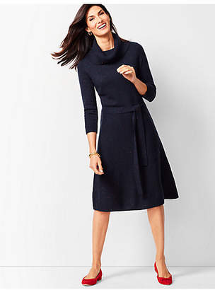 Talbots Cowlneck Fit & Flare Sweater Dress - Donegal