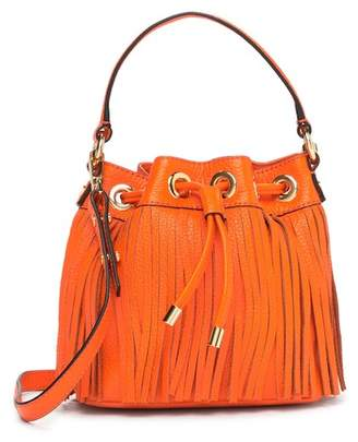 Milly Essex Fringe Small Drawstring Leather Handbag