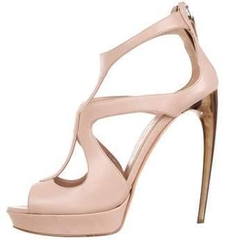 Alexander McQueen Leather Peep-Toe Sandals