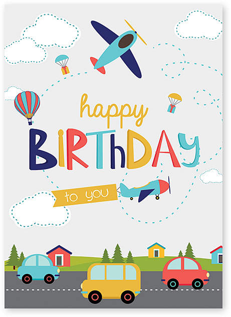 Cars & Planes Birthday Card – Set of Six